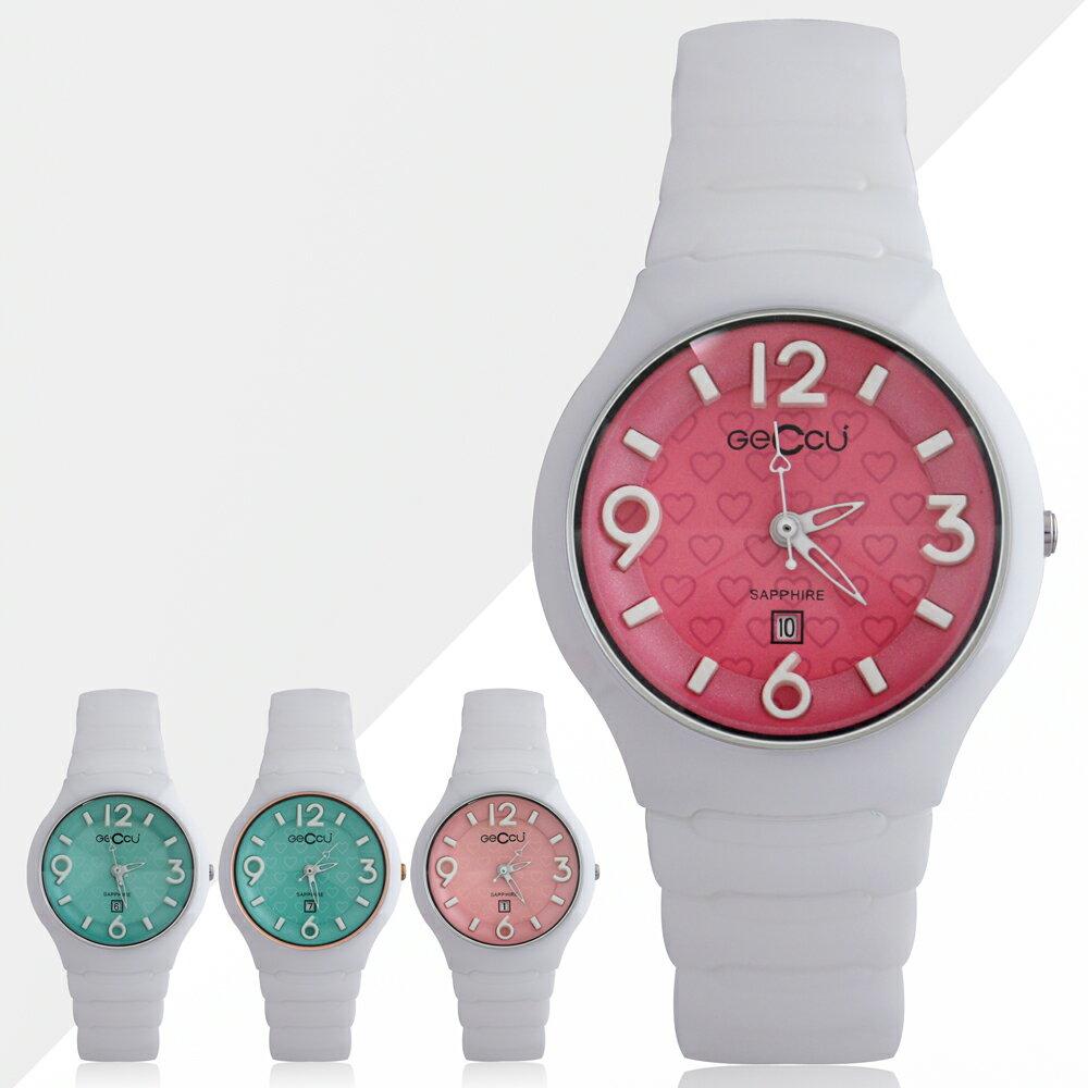 GECCU TC-1115 俏麗可愛心型切玻鏡面白色陶瓷錶帶*4色 0