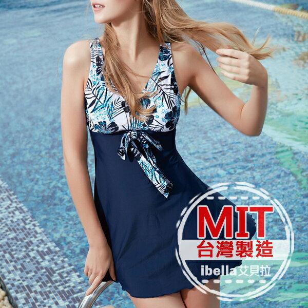 連身泳裝MIT台灣製造花朵拼接裙式連身泳衣(附帽)預購【36-66-85125】ibella 艾貝拉