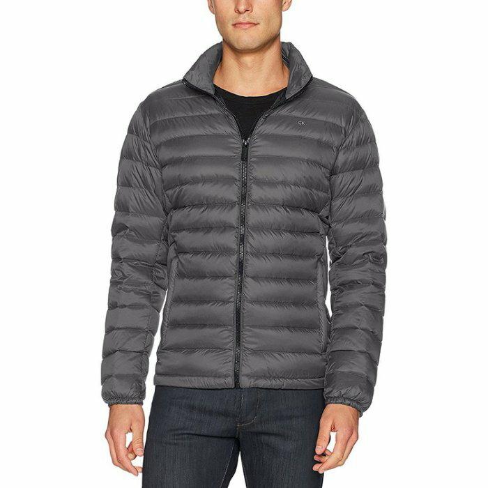 美國百分百【全新真品】Calvin Klein CK 男 輕量 保暖 羽絨 外套 夾克 立領 灰色 S號 I668