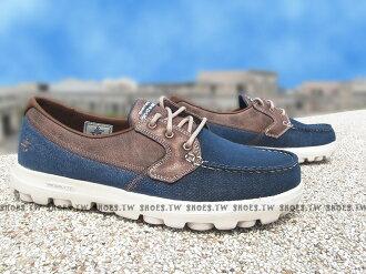 Shoestw【53625NVY】SKECHERS 健走鞋 ON THE GO 帆船鞋 牛仔藍 拼接 咖啡皮 男款