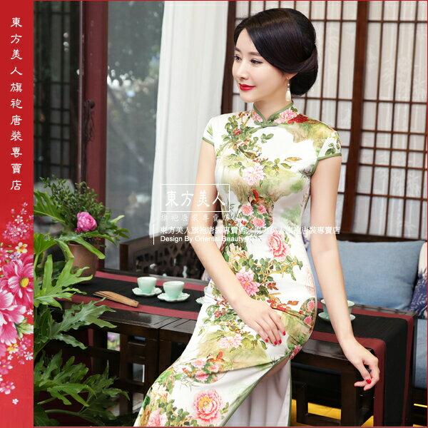 東方美人旗袍唐裝專賣店 青禾。仿絲軟緞時尚印花半月包袖長旗袍