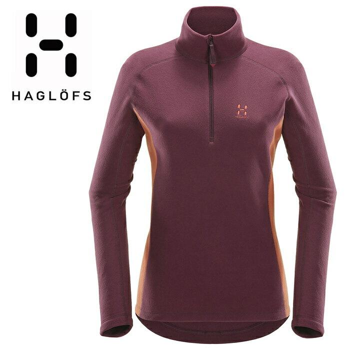 【HAGLOFS 瑞典】ASTRO II 高拉刷毛衣 中層衣 保暖衣 立領刷毛衫 女款 茄子紫/咖啡紅 (603161)