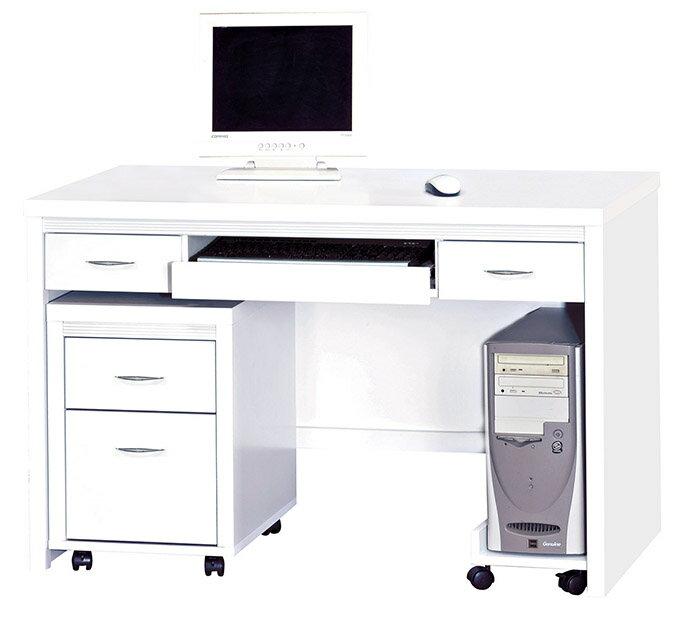 【尚品傢俱】HY-A483-07艾拉白色4尺電腦桌組(含活動櫃+主機架)