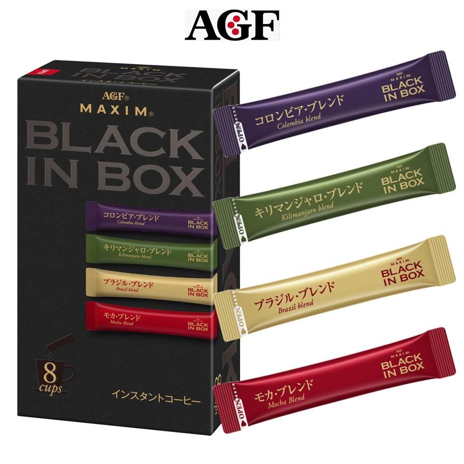【AGF MAXIM】BLACK IN BOX 四種類綜合咖啡即溶咖啡-黑咖啡 8本入 哥倫比亞/吉力馬扎羅/巴西/摩卡