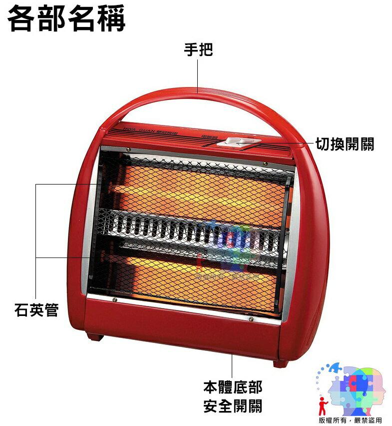 【電暖器】華冠 手提式石英管 電暖爐 二段熱量調節400W / 800W 安全開關裝置 傾倒自動斷電 台灣製 CT-808 4