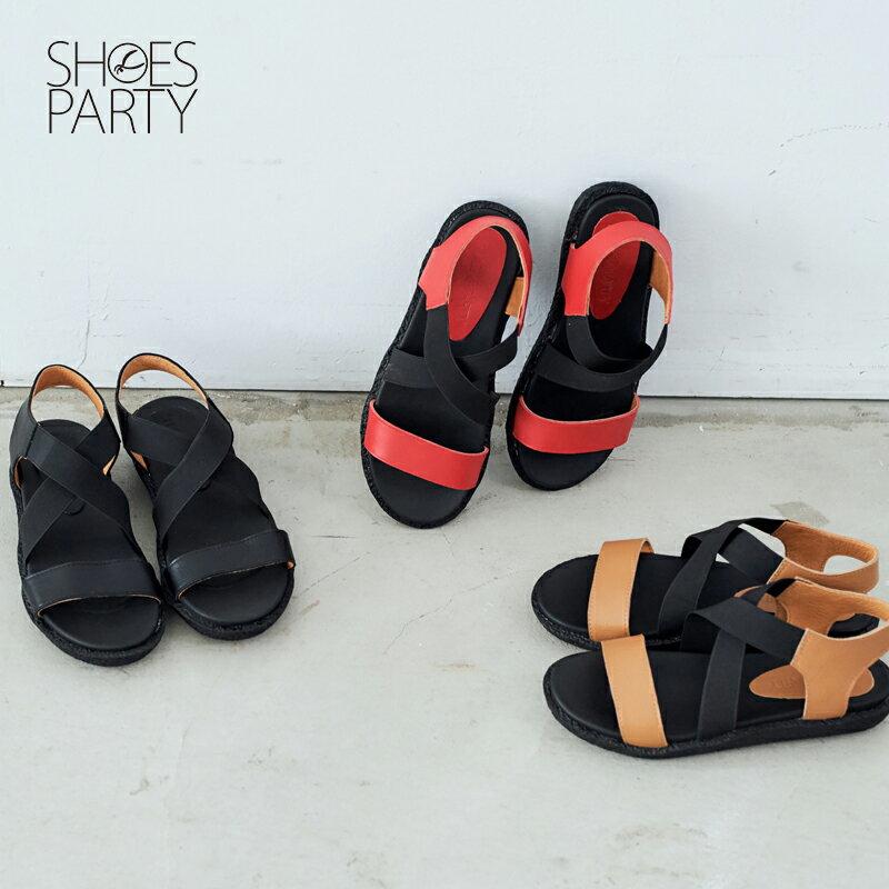 【S2-17322L】鬆緊帶X牛皮軟Q涼鞋_Shoes Party 0