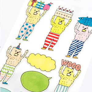 日本 Iroha 生日貼紙系列 - 小怪獸祝福