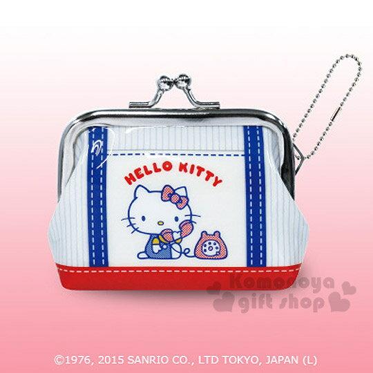 〔小禮堂〕Hello Kitty 防水口金零錢包《小.白.側坐接電話.藍吊帶紅底》可愛又實用