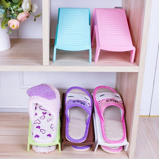 ♚MY COLOR♚雙層立體鞋子收納架 加厚 鞋櫃 居家 整理 防滑 整齊 空間 衛生 疊放 乾淨【H44】