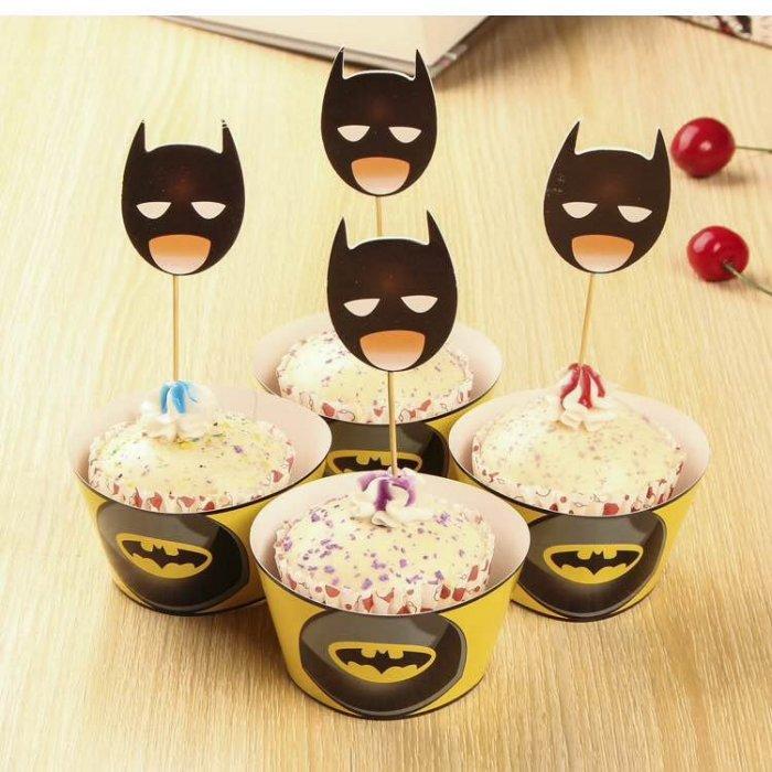=優生活=烘焙包裝紙杯蛋糕 蛋糕裝飾 插牌圍邊+插牌裝飾 派對用品 兒童生日 彌月蛋糕 收綖蛋糕【蝙蝠俠 面罩】