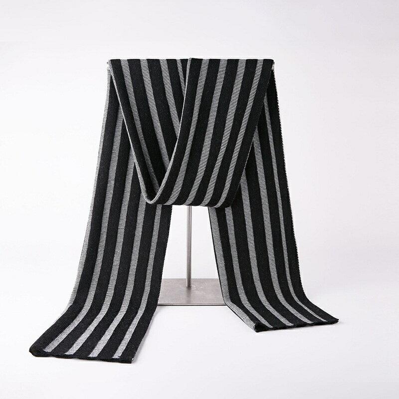 圍巾針織披肩-簡約條紋純色羊毛男配件3色73wi87【獨家進口】【米蘭精品】
