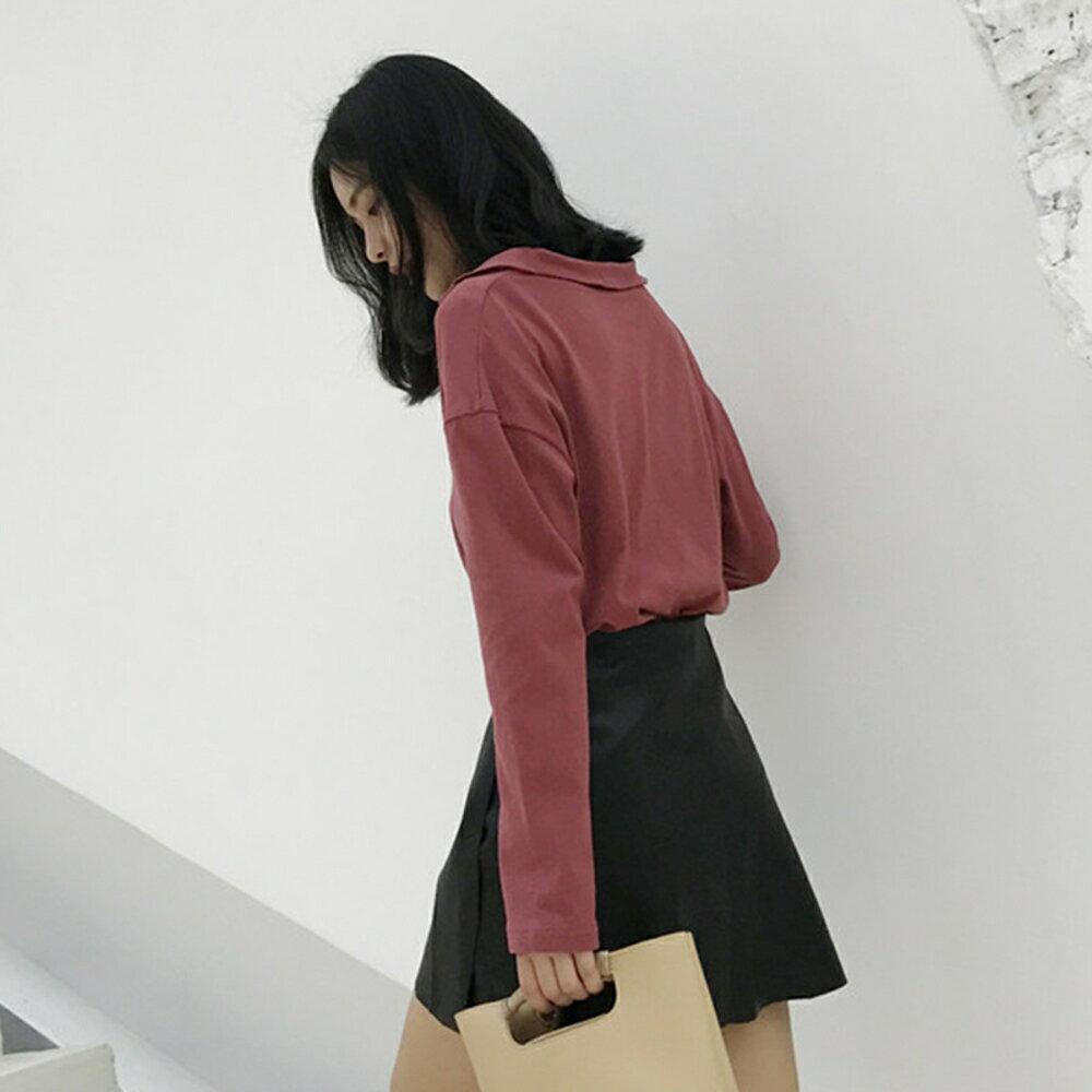 襯衫女夏 黑色打底衫長袖上衣學生寬松百搭T恤 印象部落 3
