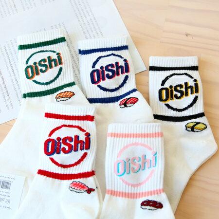韓國 OiShi握壽司白底棉質中筒襪 美味 英文 生魚片 食物 百搭 短襪 襪子 造型襪 流行襪【N201302】