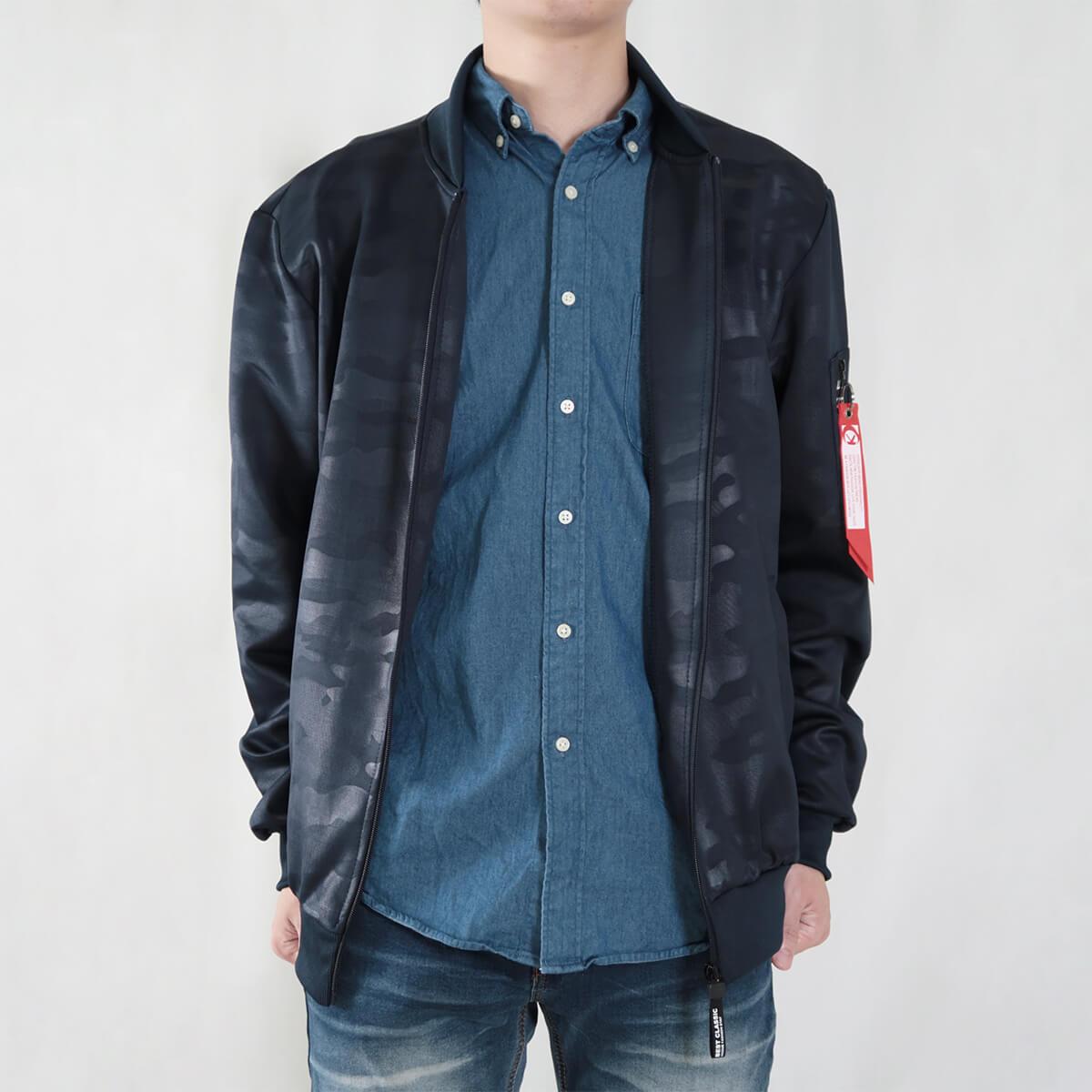 韓版迷彩飛行夾克 MA-1飛行外套 迷彩外套 空軍外套 輕量單層薄外套 MA-1 CAMOUFLAGE FLIGHT JACKET (321-8917-01)深藍色、(321-8917-02)黑色 3L 4L(胸圍48~51英吋) [實體店面保障] sun-e 9