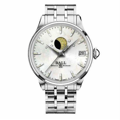 BALL波爾錶NL3082D-SJ-WHMoonPhaseLadies月相顯示淑女機械腕錶珍珠母貝面34mm