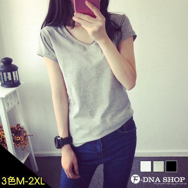 F-DNA★不修邊V領純色短袖上衣T恤(3色-M-2XL)【ESH1390】