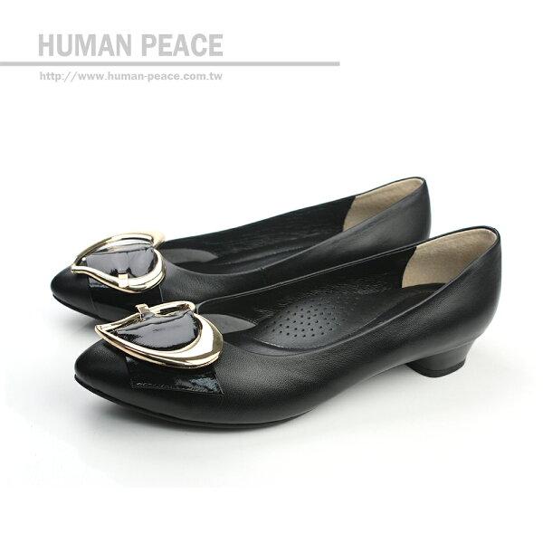 HUMAN PEACE 皮革 舒適 好穿脫 戶外休閒鞋 黑色 女鞋 no171