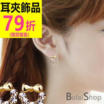 ^( 販售^)無耳洞耳環一對 韓系典雅閃閃水鑽蝴蝶結耳夾 R159系列~寶來小舖 BOLA