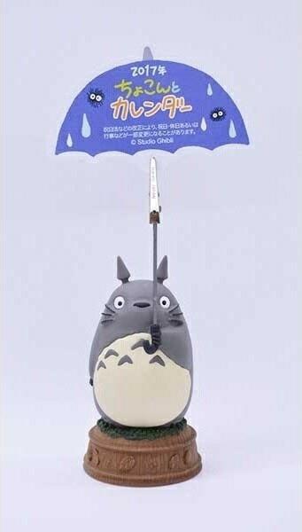 【真愛日本】16092200015立體日曆架17年-灰龍貓撐傘  龍貓 TOTORO 豆豆龍  年曆 日曆