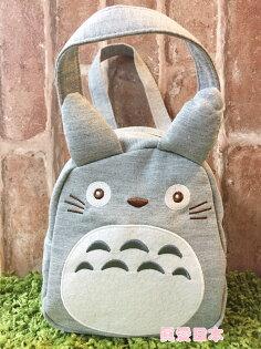 【真愛日本】16050600001造型綿布電繡小提袋-灰龍貓手提袋造型提袋便當袋TOTORO