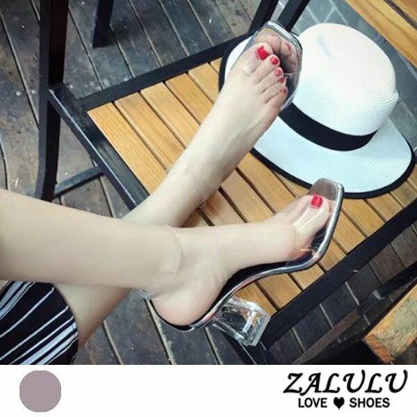 ZALULU愛鞋館7DE279預購美腿比例女王透膚高跟拖鞋-透明-35-39