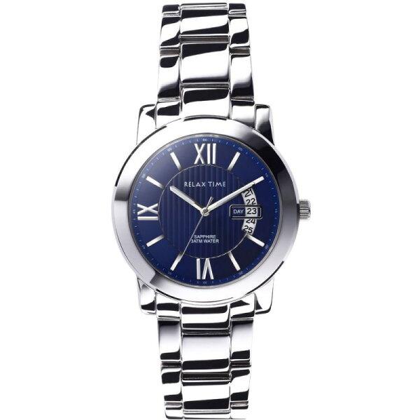 大高雄鐘錶城:RELAXTIME三針日期銀x藍腕錶(RT-36-1M)32mm