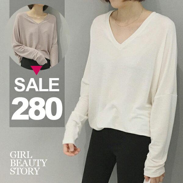 SISI~L7004~休閒慵懶百搭BF男友風寬鬆蝙蝠袖顯瘦V領薄款長袖針織T恤上衣
