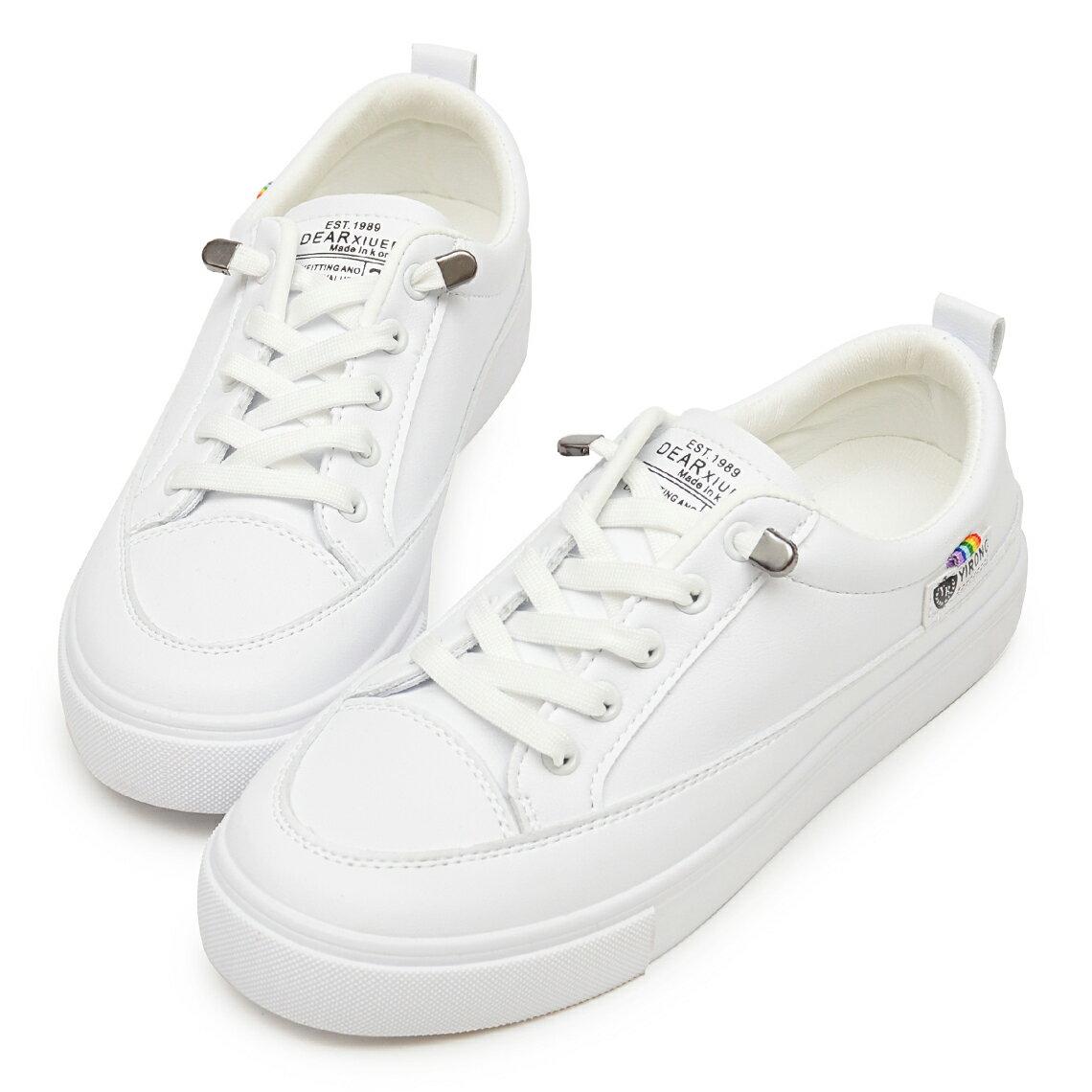 小白鞋 超軟Q免綁帶防磨腳休閒鞋-白
