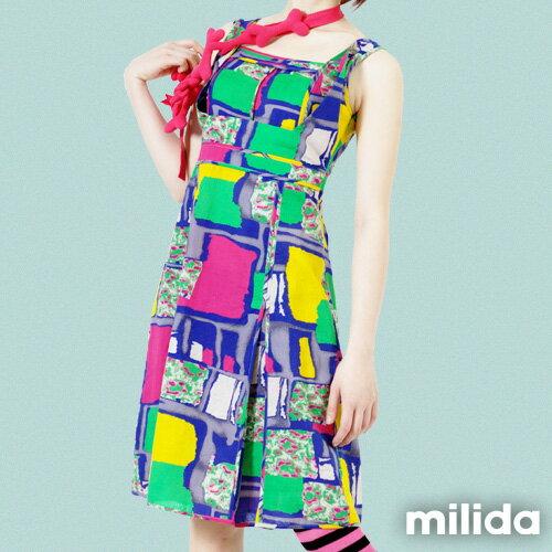 【Milida,全店七折免運】-春夏商品-無袖款-縮腰拉鍊洋裝 3