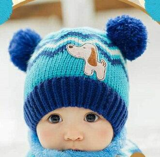 Lemonkid◆可愛狗狗閃電彩色條紋耳朵雙毛球造型兒童保暖毛線帽-湖藍