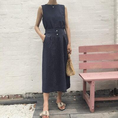 韓系女裝條紋背心+半裙兩件套套裝樂天時尚館。預購