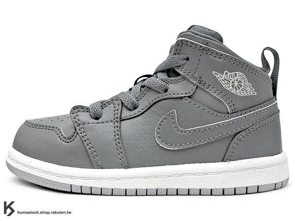 海外入荷 台灣未發售 2015 NIKE JORDAN 1 RETRO MID TD BT COOL GREY 幼童鞋 BABY 鞋 全灰 酷灰 灰白 AJ 一代 AIR (640735-031) !
