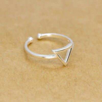 925純銀戒指開口戒~唯美氣質鏤空三角形情人節生日 女飾品73dt77~ ~~米蘭 ~