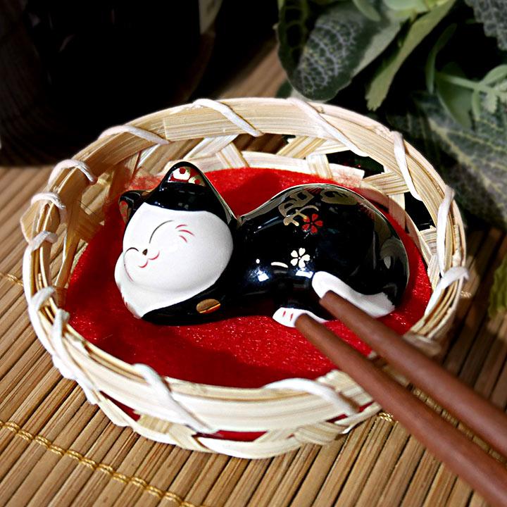 【貓粉選物】瞌睡壽司貓 療癒小物 筷架 紙鎮 筆枕 黑貓 招財