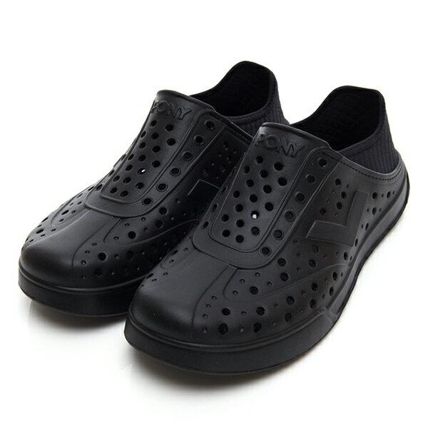 《2019新款》Shoestw【92U1SA03BK】PONY Enjoy 洞洞鞋 水鞋 海灘鞋 可踩跟 懶人拖 菱格紋 全黑 男女尺寸都有 0