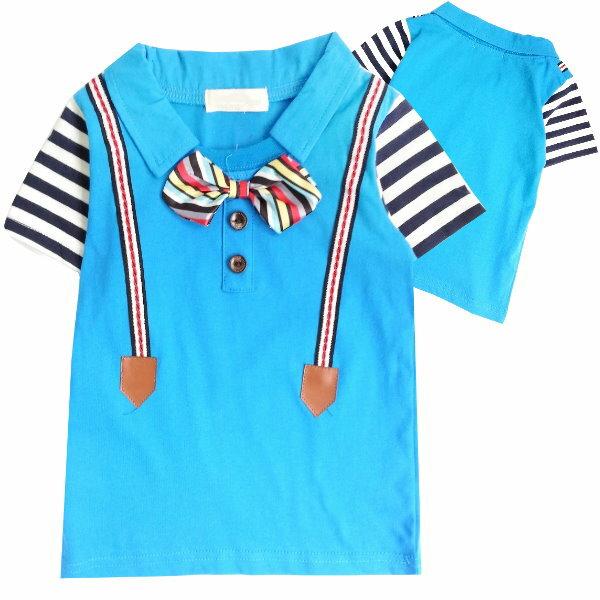 ~班比納 ~領結吊帶假兩件接橫條袖T~藍~BM150205069~