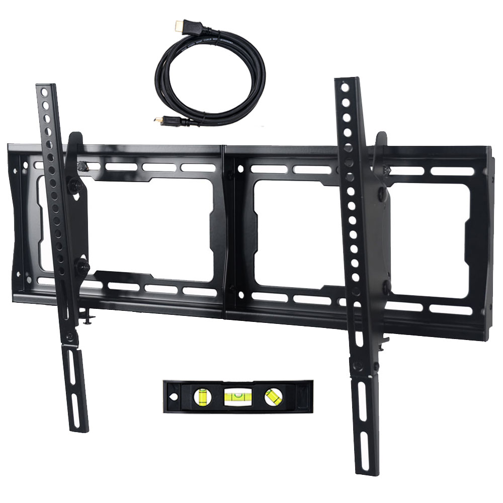 """VideoSecu One Touch Tilt TV Wall Mount Bracket for most 24 27 32 37 39 40 42 46 47 50 55 57 58 60 64 65 70"""" LCD LED HDTV UHD Plasma Flat Panel Displays with VESA 600x400 /400x400mm  Free 10ft HDMI Cable & Bubble Level MDA 0"""