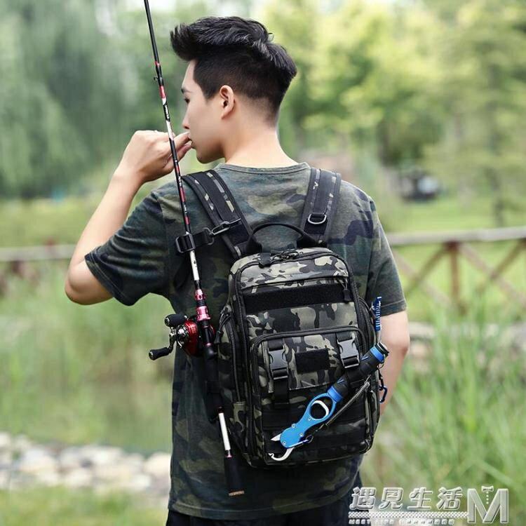 新款三肩帶單後背兩用路亞包防水漁具釣魚包戶外迷彩斜背包背竿包