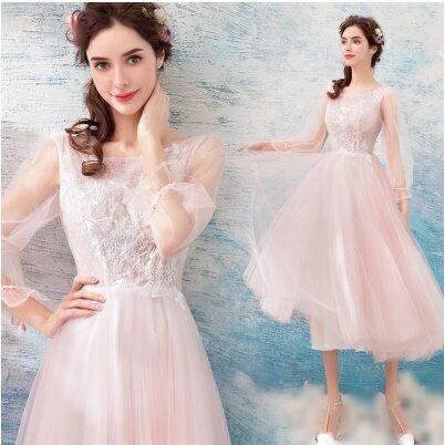 天使嫁衣:天使嫁衣【AE9127】淺粉色網紗袖綁帶收口氣質中長款禮服˙預購訂製款
