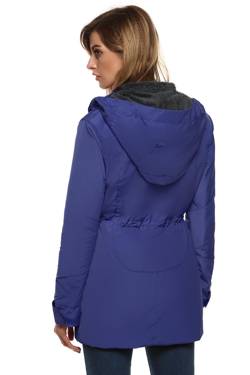 Women Casual Hooded Waterproof Windproof Long Coat Outwear 3