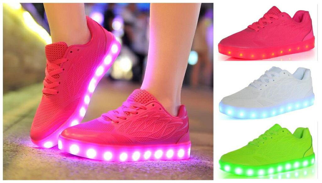 糖果色led燈鞋USB充電發光女鞋運動慢跑鞋