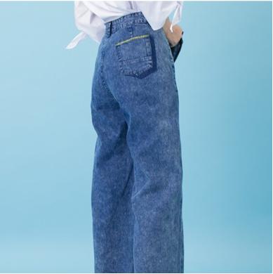 2千現折400↘搶券再折▶ 【maru.a】個性印花率性牛仔長褲(深藍)▶滿800免運