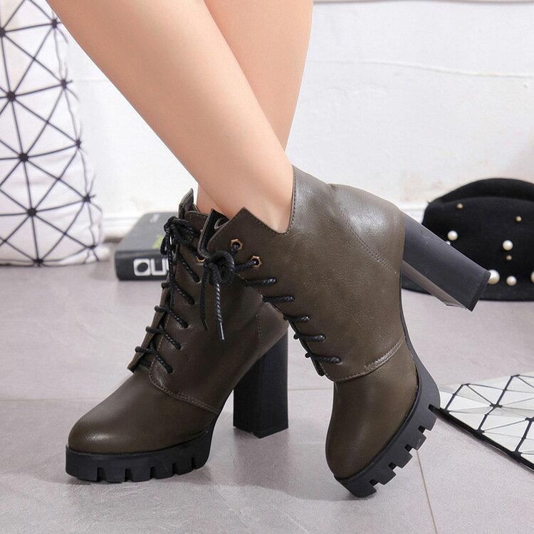 2016 韓國外銷女鞋黑軍綠灰軍靴粗跟厚底短靴綁帶高跟馬丁靴女靴英倫修長美腿短筒靴