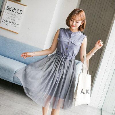 女裝蕾絲連身裙+網紗甜美超仙顯瘦兩件套樂天時尚館。預購。[全店免運]