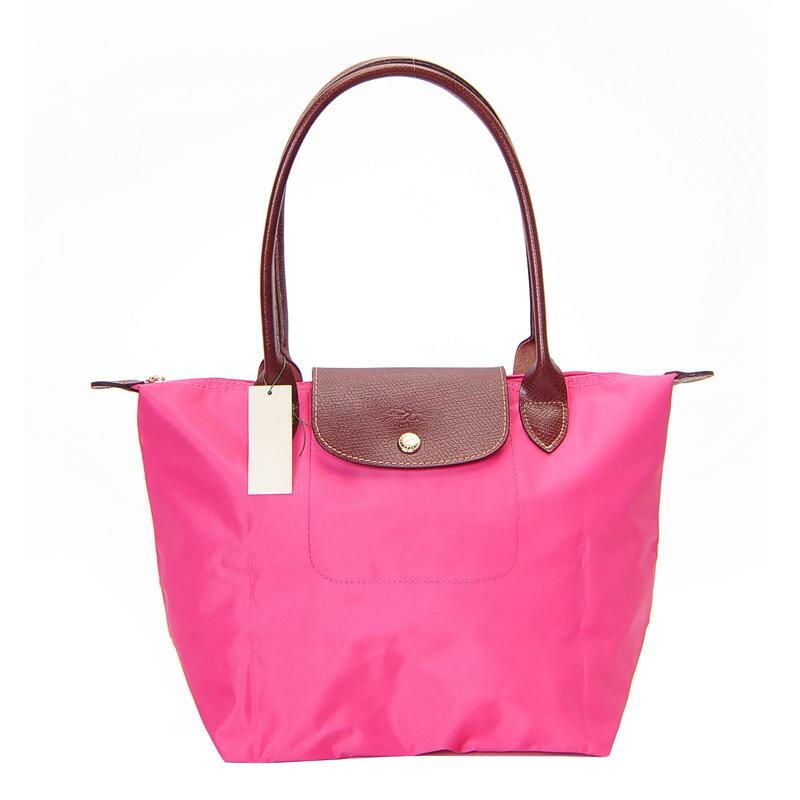 [2605-S號] 國外Outlet代購正品 法國巴黎 Longchamp 長柄 購物袋防水尼龍手提肩背水餃包 粉紅色 0