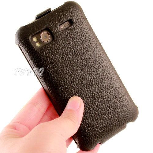 HTC Sensation XE  感動機 XE 荔枝紋 真皮 牛皮 下掀式  翻蓋式 手
