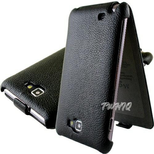 Samsung Galaxy Note N7000 i9220 荔枝紋 真皮(牛皮)下掀式手機皮套