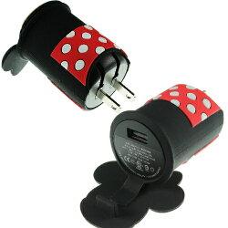 【Disney】立體造型2A充電轉接插頭 USB轉接頭-米妮◆贈送!黃色小鴨耳機塞◆