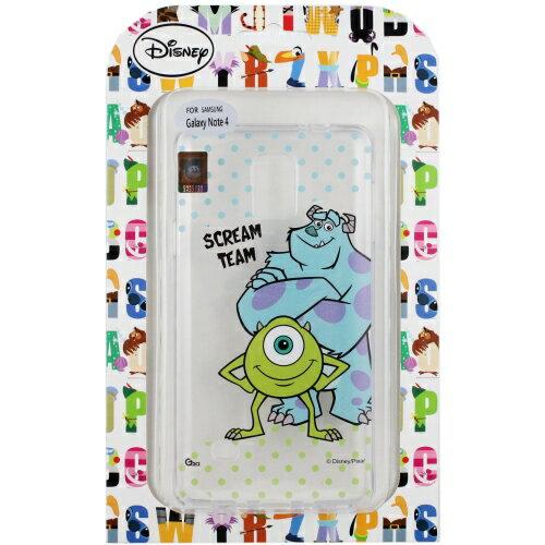 【Disney】Samsung Galaxy Note 4 彩繪透明保護軟套-毛怪/大眼仔