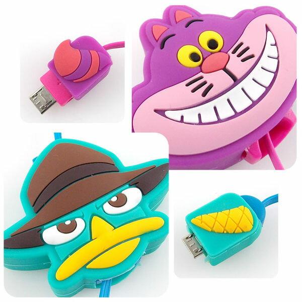 ~Disney~ Micro USB 伸縮傳輸線~柴郡貓  泰瑞